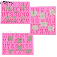 Creative Button Letters Alphabet Silicone Mold Fondant Cake Decorating Tools Gumpaste Chocolate Fimo Clay Candy Moulds XL261