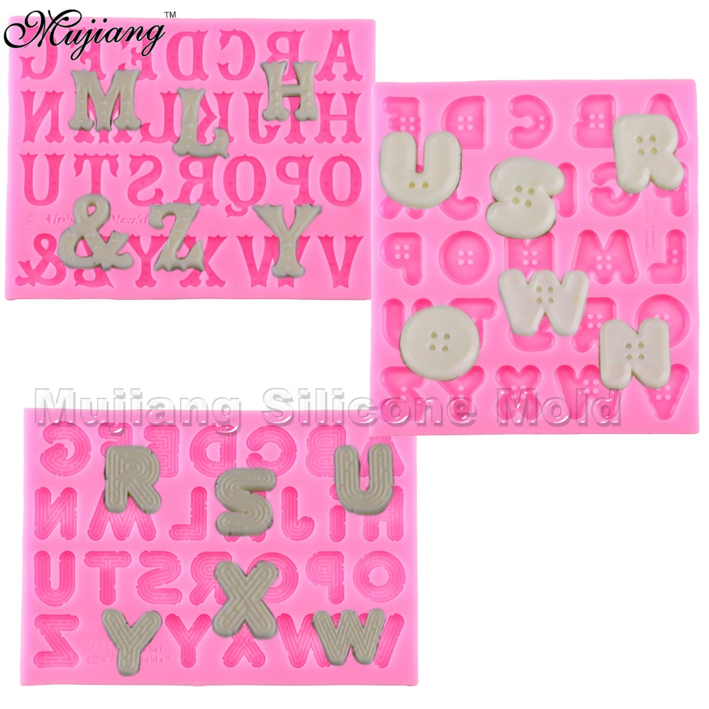 Creative Button Letters Alphabet Silicone Mold Fondant Cake Decorating Tools Gumpaste Chocolate Fimo Clay Candy Moulds XL261(China)