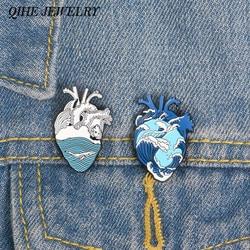 QIHE ювелирные изделия Волны океана и Кита булавка синий человеческое сердце нагрудные булавки Анатомическое Сердце Эмаль Булавка сердце Ан...