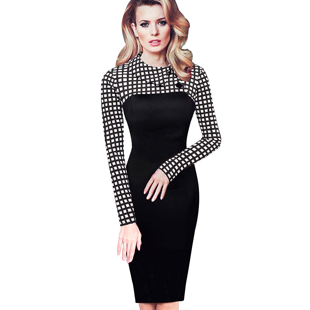 Nice-forever Elegant Vintage Fitted winter dress full Sleeve Patchwork Turn-down Collar Button Business Sheath Pencil Dress b238 5