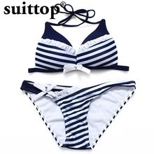 suittop Bikini 2017 Summer Sexy Maillot De Bain Femme Push Up Padded Swimsuit Striped Women Swimwear Underwire Swimming Suit(China)