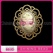 New Product Cheap Antique Silver /Gold Vintage  Brooches Cameo Brooch In Bulk China Supplier