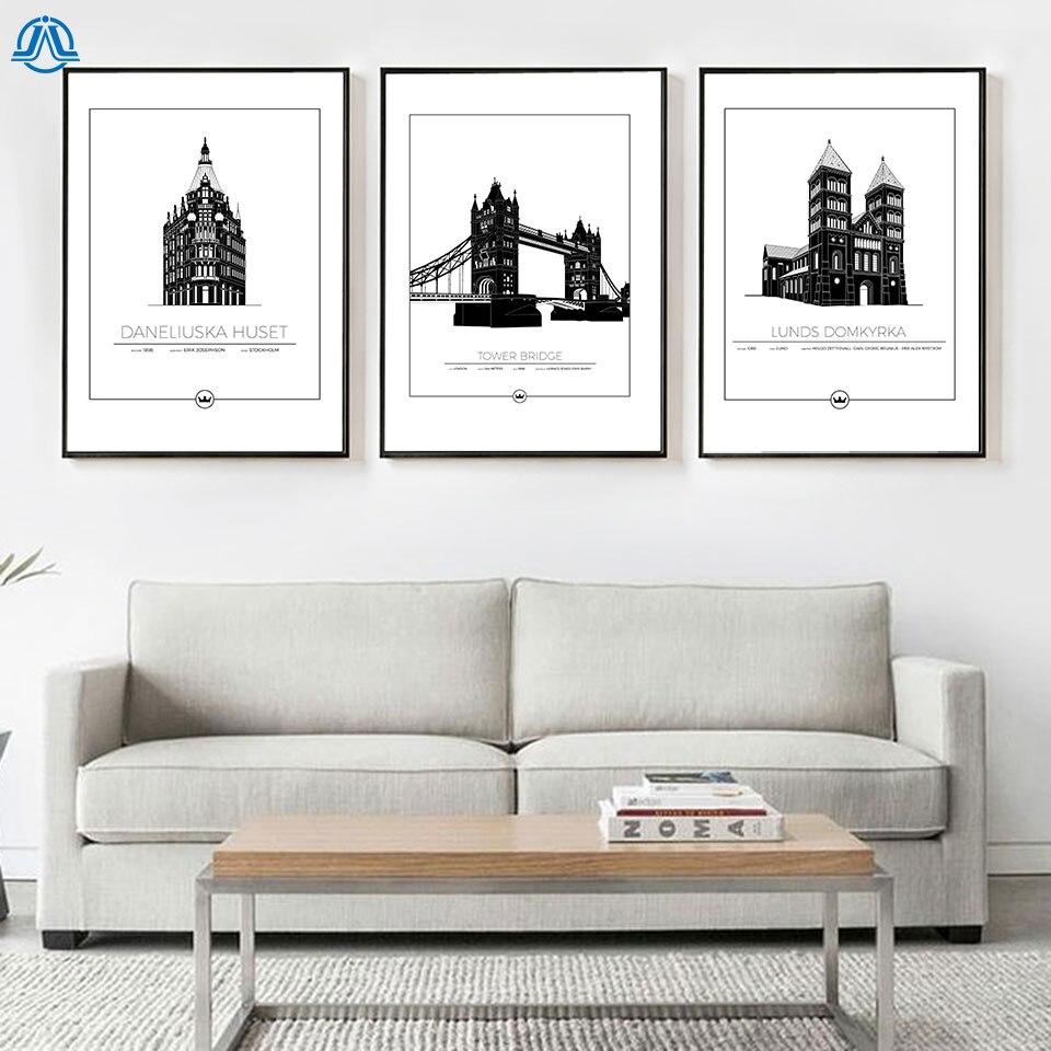 World Famous Architecture Poster And Print Black White Landmark Art