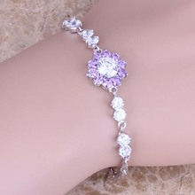 Excellent Purple / White Cubic Zirconia 925 Sterling Silver Link Chain Bracelet 7 - 8 inch Free Gift Bag S0646(China)