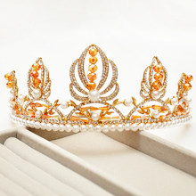 2017 Hot Royal Regal Chic Gold Golden Quinceanera Bridal Tiara Crystal Lotus Orange Pearls Classic Rhinestone For Bride(China)