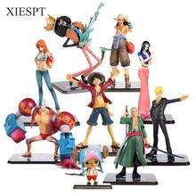 XIESPT One Piece PVC Action Figure Toys 16cm Luffy Zoro Robin Nami Figurine Toy Dolls Model For Gifts F0532 Free Shipping