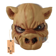 H&D New Adult Scary Face Horror Halloween Animal Party Pig Mask Costume Halloween Funny Cosplay Props (Half Face)(China)