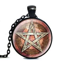 Statement Tag Esoteric PenTagram Glass Tag Cabochon Link Choker Tag Women Jewelry