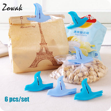 6pcs Bag Clip Food Seal Fresh Keeper Bird Shaped Storage Snack Clamp Sealer Home Freezer Sealing Kitchen Clips Cooking Tool New