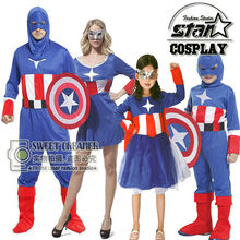 Captain America Costume Family Matching Halloween Carnival Cosplay Stage Costume Jumpsuit Movie Avengers Steve Rogers Jumpsuits(China)
