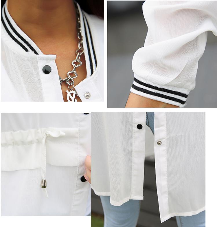 Kimonos for Women 2018 Summer Ladies Chiffon Cardigans Female Casual Blouses Baseball Jackets Vintage Jaqueta Feminina Casaco 6