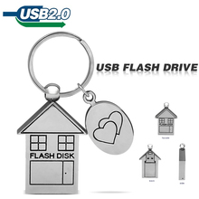 2015 usb flash drive Full silver pendrive 4GB 8GB 16GB 32GB lovely ,house u disk pen drive Free Shipping house flash disk(China)