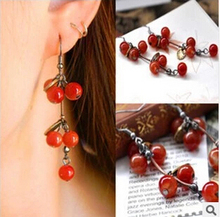 ED326 European and American style retro Thai sweet little cherry full aesthetic temperament Earrings(China)