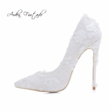 Arden Furtado new spring autumn extreme sexy high heels woman 12cm lace flowers slip-on white wedding shoes plus size customize(China)