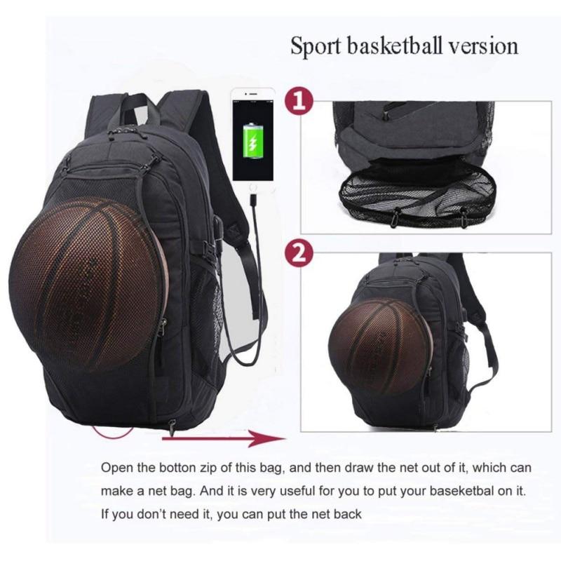 Sport Backpack Men Laptop Bag With Football Basketball Net For ... fe85923131