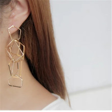 Yuan Shuo Europe United States fashion texture hand created exaggerated geometric shapes surround Copper material long earring(China)