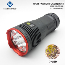 20000lm High Power LED Flashlight 7 x CREE XM-L T6 Battery Indicate LED Hunting Camping  Flashlight Flash Torch Lamp Torch