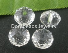 Doreen Box hot- 70 Pcs Clear Crystal Glass Faceted Rondelle Beads 5040 8x6mm(B03846)(China)