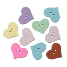 "DoreenBeads Wood Sewing Button Scrapbooking Heart Mixed Two Holes 20.0mm( 6/8"") x 16.0mm( 5/8""), 15 PCs 2015 new(China)"