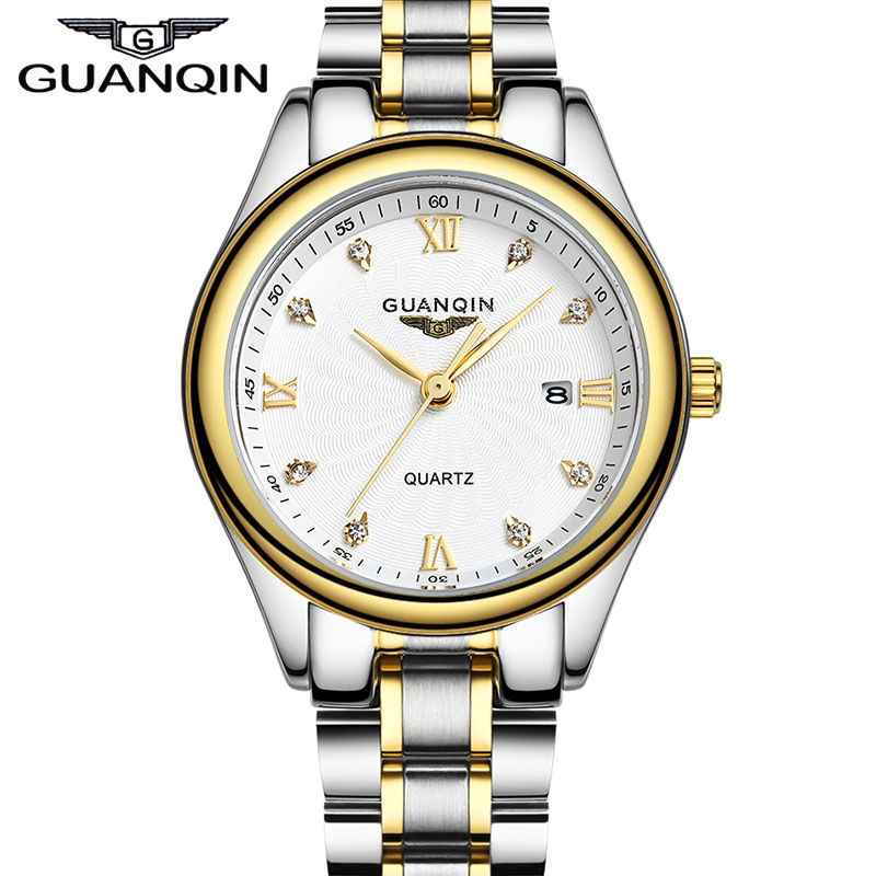 GUANQIN Mens Business Watches Full Stainless Steel Calendar Gold Men Quartz Watch relogio masculino<br>