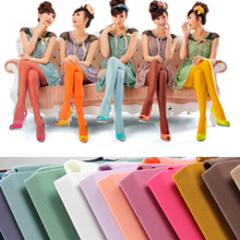Buy Women's Sexy Footed Thick Opaque Warm Pantyhose Stretch Long Soft Autumn Winter Nylon Tights Candy Color Stockings