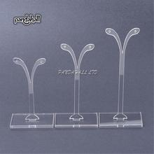 Plastic Earring Display, Jewelry Display Rack, Jewelry Tree Stand, Clear, about 38mm wide, 80~120mm high