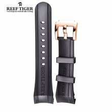 Reef Tiger/RT Watch Band 29 CM Black Rubber Watch Strap with Tang Buckle for Aurora Concept and Transformer Watch