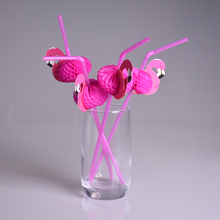 25pcs/lot New Flamingo Paper Straws Wedding birthday Engagement Hawaiian Luau Decoration Tropical Drinks tea party favors