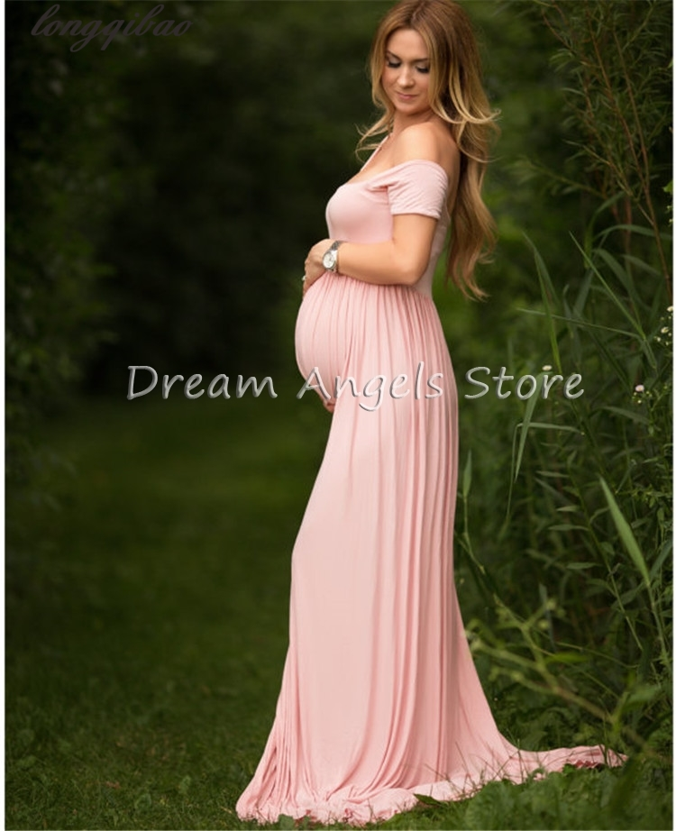 Before the big yard stretch cotton pregnant photo shoot collar open even pregnant women dress mopping the floor dress pictures<br>