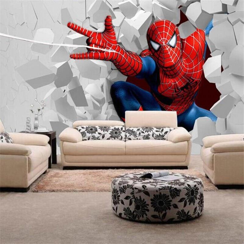 Beibehang Animation Custom Mural Wallpaper Warm Living Room Children S Seamless Spiderman Men And