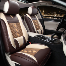 Vehicle movement model of full package cushion upscale full leather and ice silk joining together the four seasons sitting car(China)