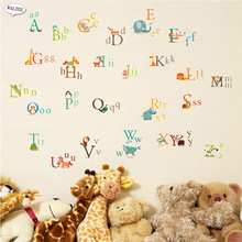 DIY Cartoon Colorful small big English Letters Wall Sticker Home Background alphabet Decals baby Kid girl Nursery Decor Painting