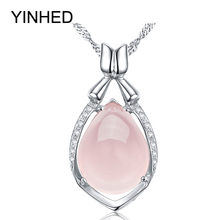 Luxury Natural Rose Stone Pendant Necklace 925 Sterling Silver Jewelry Crystal Powder Water Drop Necklace for Women Gift ZN056(China)