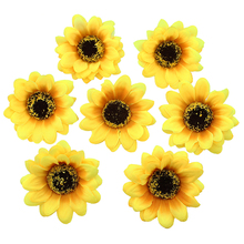 High Quality 7cm Silk sunflower Artificial Flower Heads Wedding DIY Wreath Hair Fake Flowers Decoration 50pcs/lot