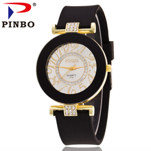 2017 PINBO Brand Hot Sell Fashion Casual Big Number Gold Casual Quartz Ladies Watch Women Crystal Silicone Watches Reloj Mujer(China)