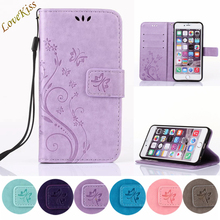 Butterfly Pattern Leather Phone Case For iPhone 6 6s 7 Plus SE Plus 5S TPU Back Cover Capa Shell Stand Wallet Bag Holder Strap
