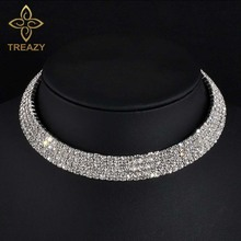 Buy TREAZY Sparkling Silver Color Crystal Collar Chain Choker Necklace Bridal Wedding Party Diamante Rhinestone Choker Jewelry Gifts for $1.35 in AliExpress store