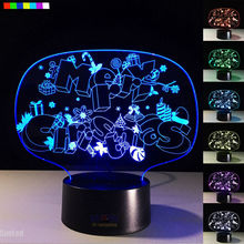 New Arrival Merry Christmas Led 3D Illusion Night Light Creative 7 Colors Table Lamp with Remote Xmas Toy Gift for Kids Friends