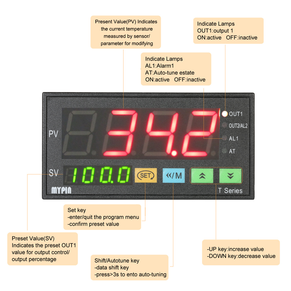 Pt100 Thermometer digital LED 200℃+450℃ Temperatur Anzeige Termometer 12V 24V B