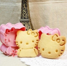 2pcs/set Cartoon HELLO KITTY 3d Cookie Cutter Set, Molds for Cookies, Cookie Stamp, Cooking Tools diy M-F56
