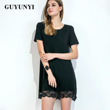 Summer Women's New Products Slim Shaving Lace Stitching Short Sleeve Dress Black Fashion Sexy Club Dress Beach Clothing CX538