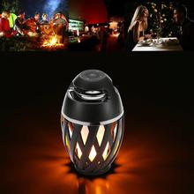 New Portable IP65 Wireless Mini Bluetooth Speaker Super Bass Stereo Soft Light Outdoor Boombox Sound box with LED Flame Lamp(China)