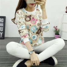 2017 Brand Fashion Harajuku Cute Teddy bear panda Women sweater high quality Long sleeves Flannel Pullovers Warm tops large size