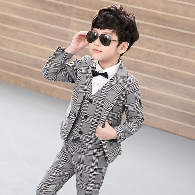 New Spring Autumn Baby Boys Clothes Sets Gentlemans  Vest +Pants+coat  jacket Toddler Boys Clothing Kids Boy Sport Suit<br>