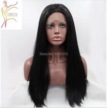 InStock !natural black hair long silky straight wigs for black women synthetic lace front wigs heat resistant fiber