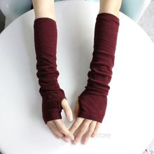 2017 New Pure Color Hand Long Mitten Gloves Women Knitted Wrist Arm Fingerless Winter Gloves Unisex Soft Keep Warm  PJ110