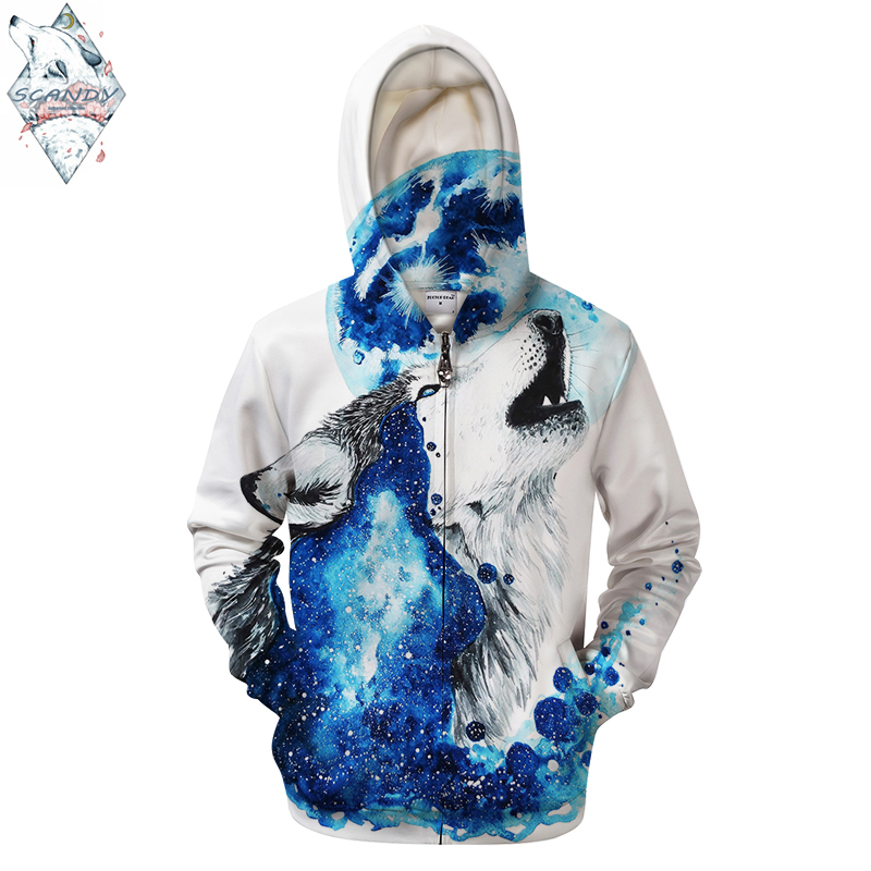 Wolf By Scandy Girl Art 3d Men 3D Printing Zipper Hoodies Galaxy Hoodies Wolf Funny Pullovers Sweatshirts Tracksuits
