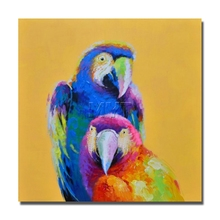 China Parrot Oil Painting Wall Art Home Decoration Home Decor Decorative Fine Art Pictures Handpainted Animal Pop Art(China)