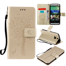 Wallet Magnet Flip Cover Leather Case sFor HTC One M8 case For HTC M8 Coque phone shell 3D Pattern Tree Cat for HTC One M8(China)