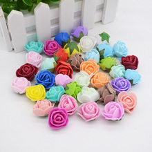 50Pcs 2cm Mini Artificial Flower PE Foam Rose Heads With Leaves Handmade Bouquet DIY Wreath Supplies Wedding Party Decoration(China)